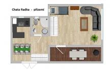 """5L Chata """"RADKA"""" luxusní patrová chata o ploše 76 m2."""
